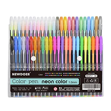 Newdoer 48 Packs Color Gel Ink PensThe Best Pens Set For Adult Colouring
