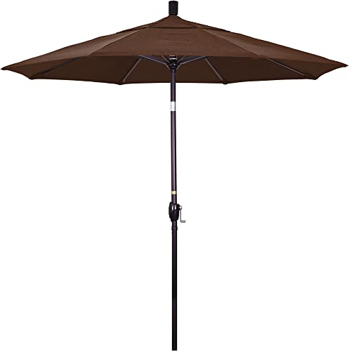 California Umbrella 7.5 Round Aluminum Market Umbrella, Crank Lift, Push Button Tilt, Bronze Pole, Sunbrella Bay Brown