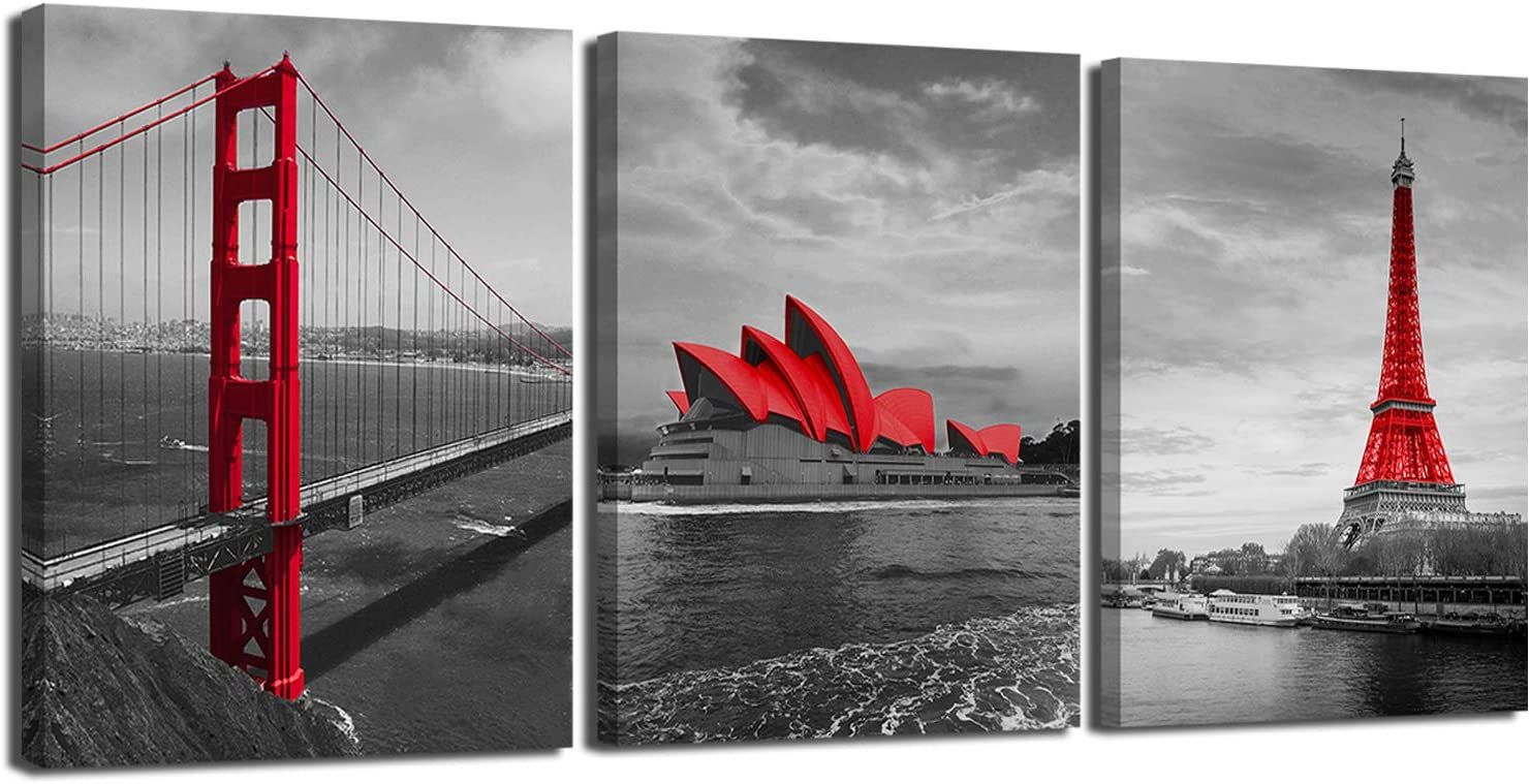 3 Panel Black and White Cityscape Canvas Wall Art, Golden Gate Bridge Prints Picture,Sydney Opera House Artwork Painting,The Seine&Paris Eiffel Tower Modern Giclee Wall Decor for Home Office 12