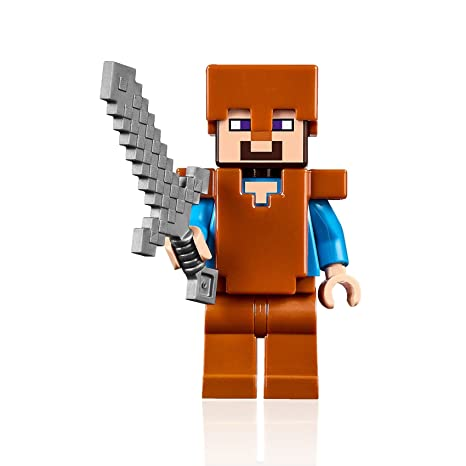 Lego Minecraft Minifigure Steve With Copper Armor And Helmet 21132