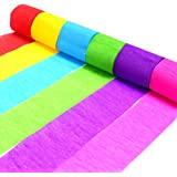 Coceca 24 Rolls Crepe Paper Streamers, 6 Colors, for Birthday Party, Class Party,Family Gathering ,Graduation Ceremony Decorations