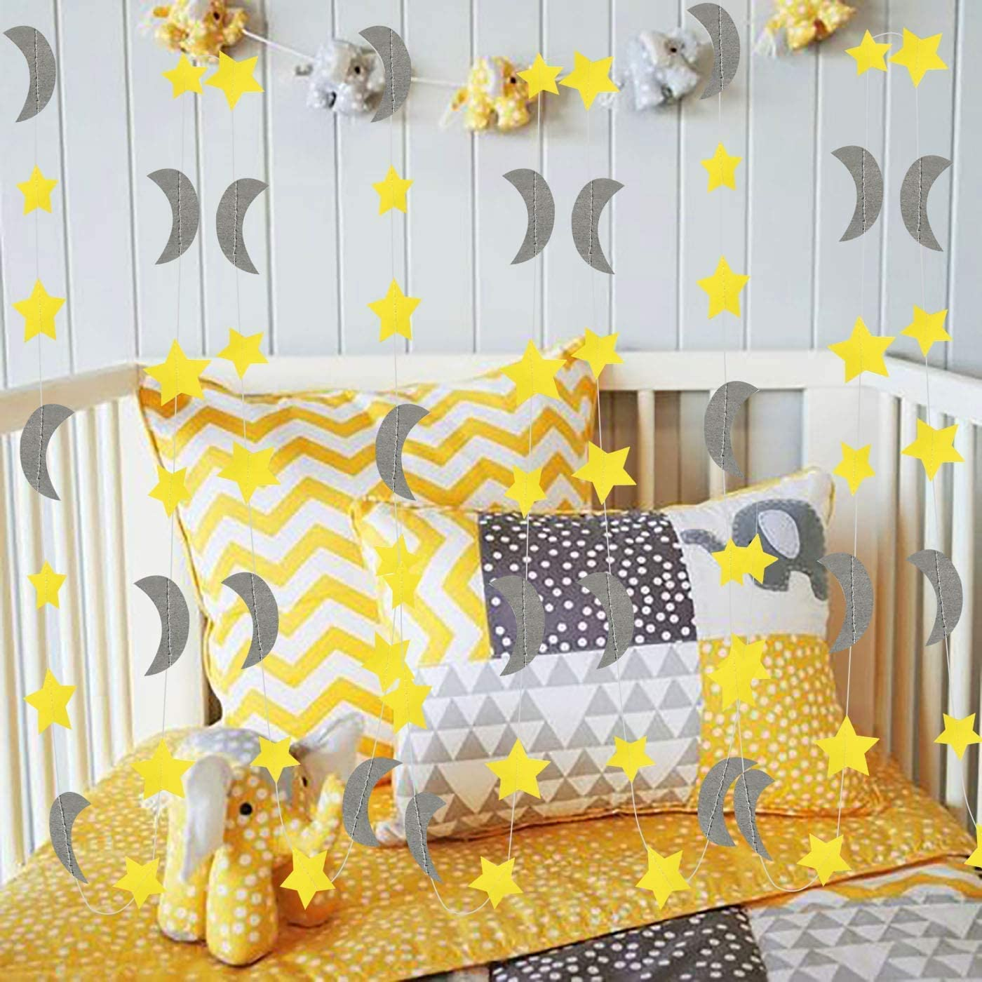 Furuix Yellow Grey Elephant Baby Shower Decorations Moon and Star Garland Decorations for Yellow Birthday Party Decor/Elephant Gray and Yellow Nursery Decorations