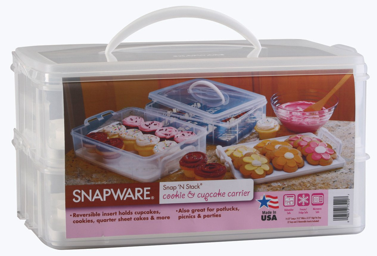 Snapware Snap 'N Stack Large 2-Layer Cookie and Cupcake Carrier
