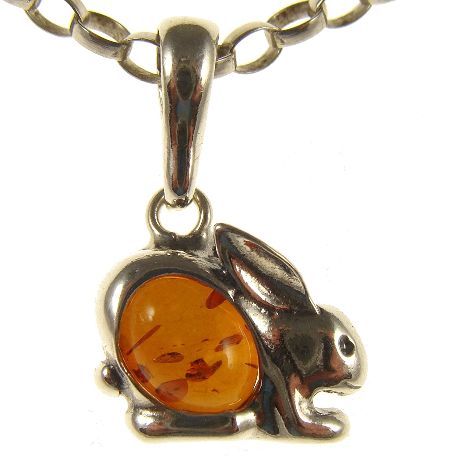 14 16 18 20 22 24 26 28 30 32 34 1mm ITALIAN SNAKE CHAIN BALTIC AMBER AND STERLING SILVER 925 RABBIT PENDANT NECKLACE