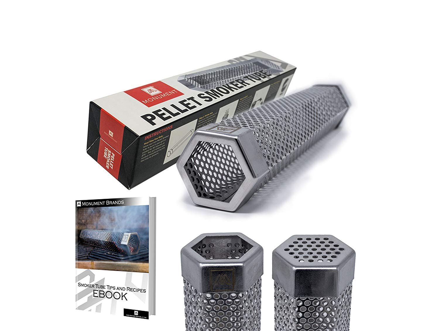M Embr Smoking 12'' Pellet Smoker Tube | Up to 5 Hours of Smoking | Use on Any Grill or Smoker | Hot Smoking & Cold Smoking | E-Book with Recipes is Included