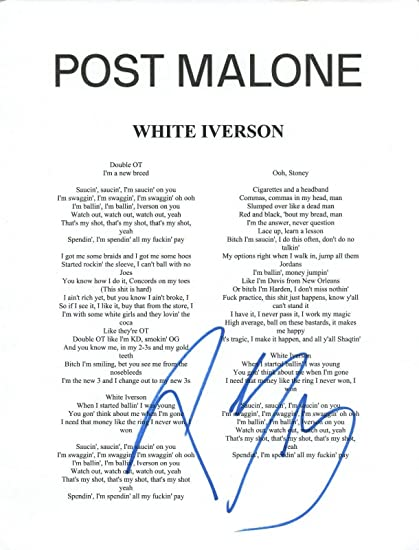 Post Malone Signed Autographed WHITE IVERSON Song Lyric