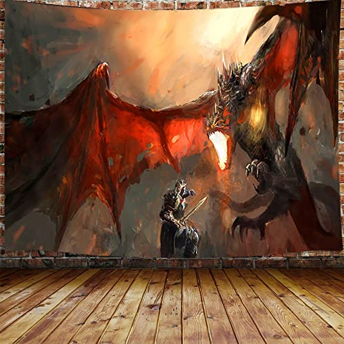 Dragon Tapestry, Fantasy World Animals Tapestry Wall Hanging for Bedroom, Magical Medieval Malicious Red Dragon Flame and Human War Tapestry Home Decor 90X70 Inches