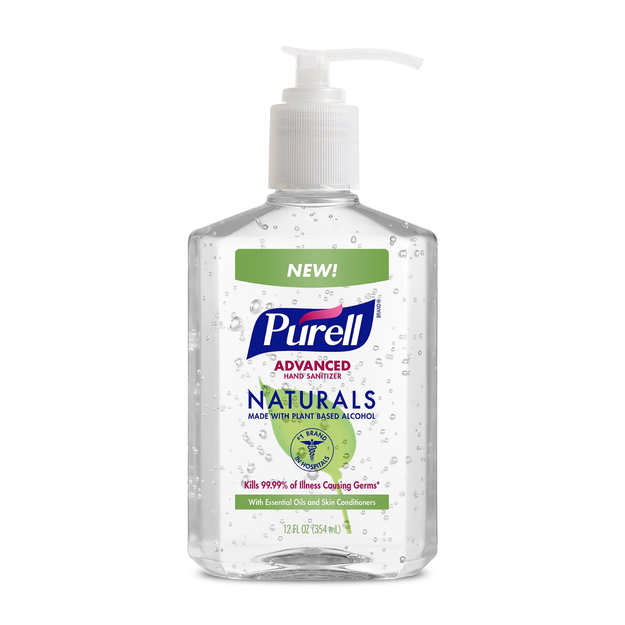 PURELL Naturals Advanced Hand Sanitizer - Hand Sanitizer Gel with Essentails Oils, 12 fl oz Bottle (Case of 12) - 9629-12