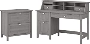 Bush Furniture Broadview Computer Desk with Drawers, Desktop Organizer and Lateral File Cabinet, 54W, Modern Gray