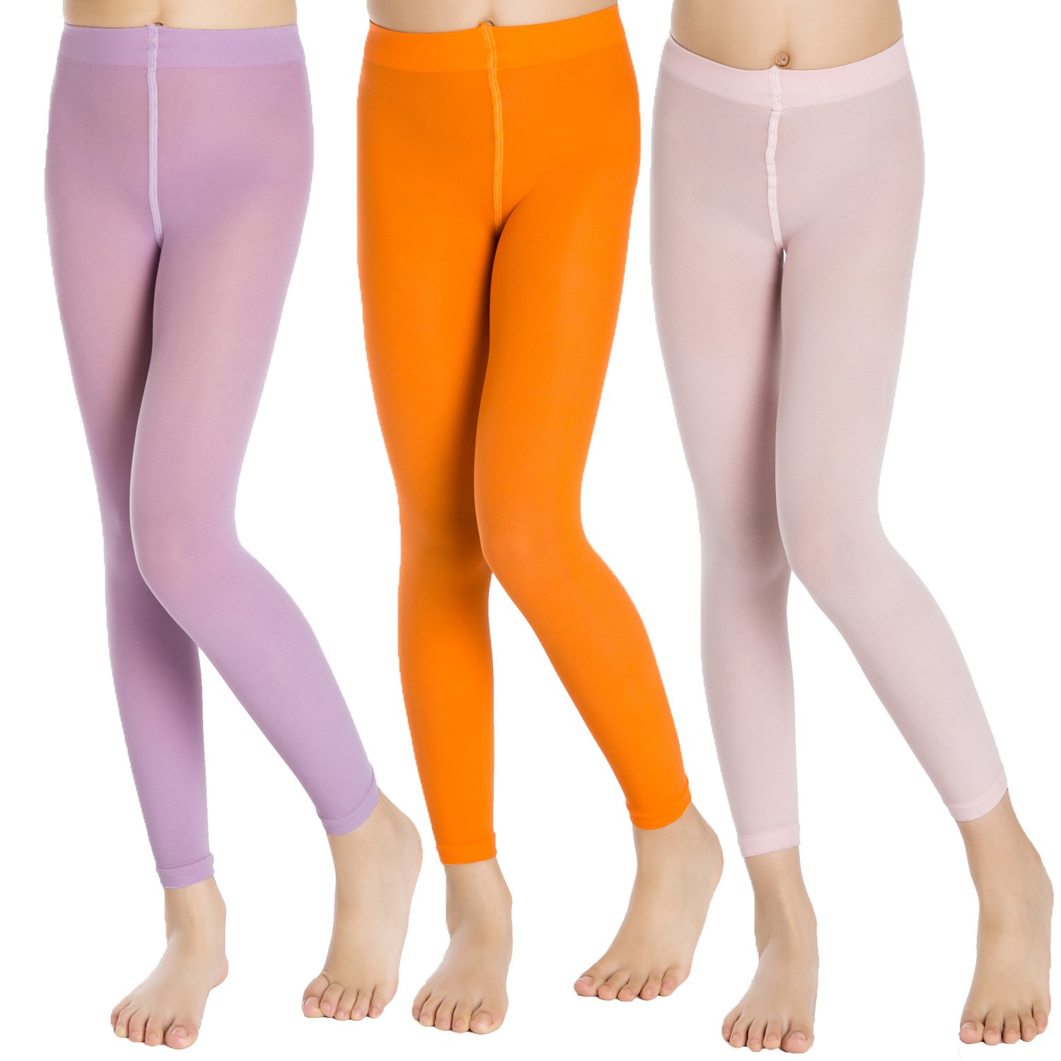 Aaronano School Girl's 3 Pairs Footless Ballet Dance Tights Age(2-16)