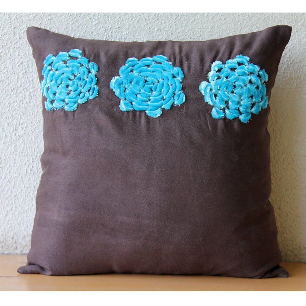 Amazon: Brown Throw Pillows Cover For Couch, Turquoise Origami Flower  Floral Theme Pillows Cover, 18