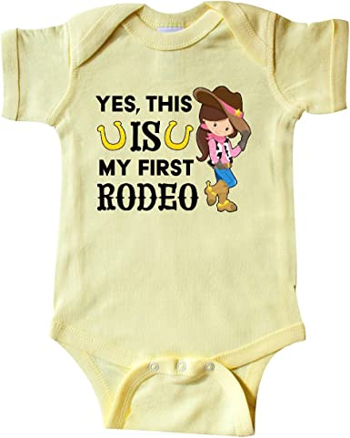 This is My First Rodeo Cowgirl in Hat and Boots Baby T-Shirt inktastic Yes