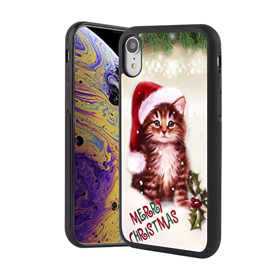 Christmas Phone Case Iphone Xr.Amazon Com Kasos Cat Red Hat Christmas Phone Case For