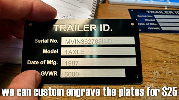 Rivets Car Trailer VIN Plate Twin Axle Chassis Data Plate YOUR OWN TEXT