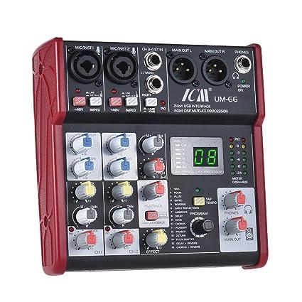 ammoon Mezclador de consola 4 canales Mezcla de tarjeta de ...