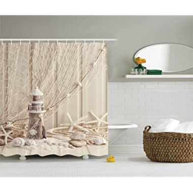 Ambesonne Beige Wooden Lighthouse Shower Curtain Nautical Decor, Marine Fishing Net Sea Stars and Shells Picture, Polyester Fabric Bathroom Set with Hooks, 75 inches Long, Ecru Ivory Beige