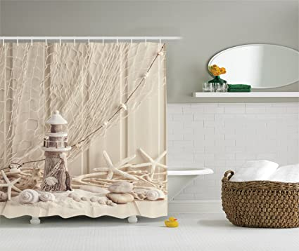 Ambesonne Beige Wooden Lighthouse Shower Curtain Nautical Decor Marine Fishing Net Sea Stars And Shells