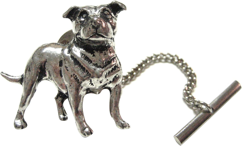 Silver Toned Pug Dog Square Tie Clip