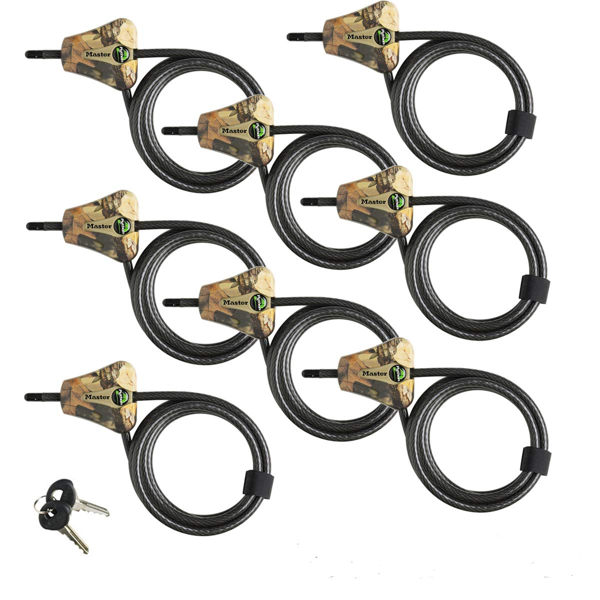Master Lock - Python Trail Camera Adjustable Camouflage Cable Locks 8418KA-8 CAMO 8-pack by Master Lock