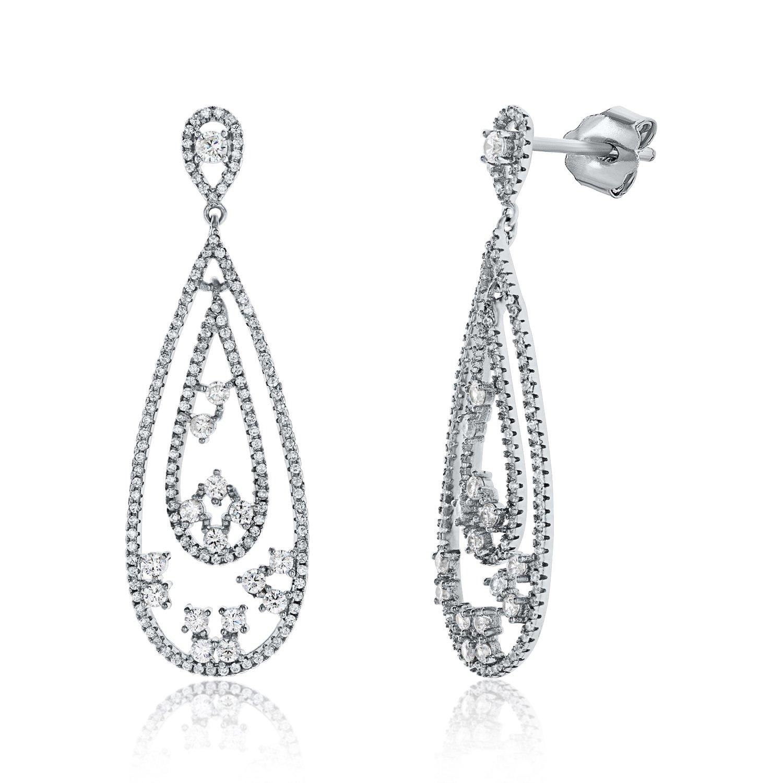 25325aa52b7 Montage Jewelry Women's Sterling Silver & Cubic Zirconia Tear Drop Shape  Wedding Earrings