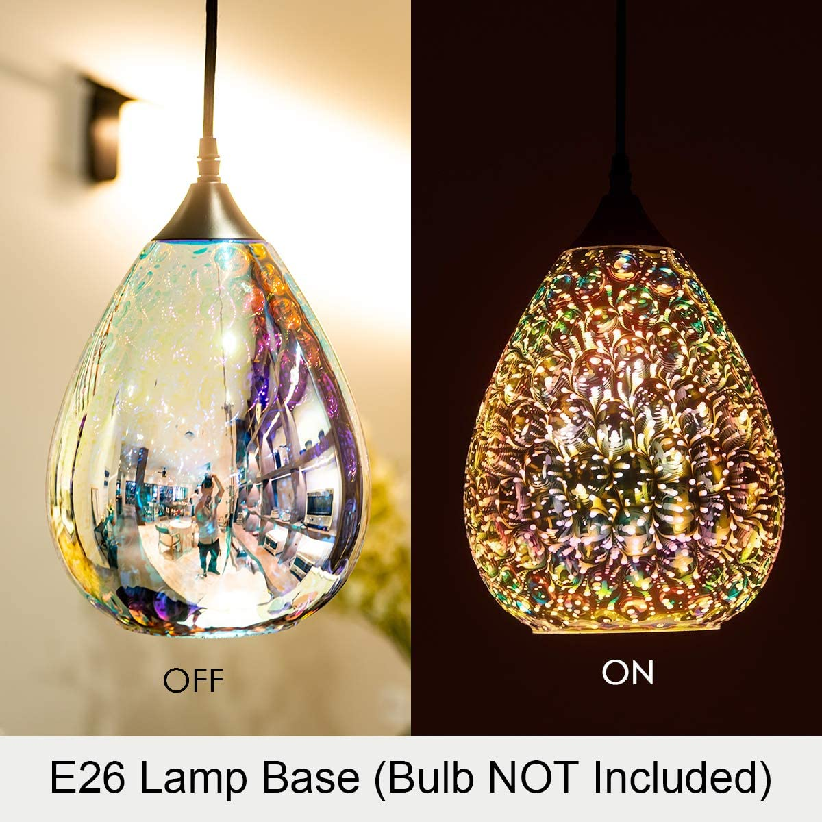 3d Glass Pendant Light, Modern Kitchen Pendant Lighting with Colored Hammered Shade, 3D Reflection Glass Hanging Pendant Ceiling Light Fixture for Living Room Bedroom Island Restaurant Bar, 8in Chrome - -