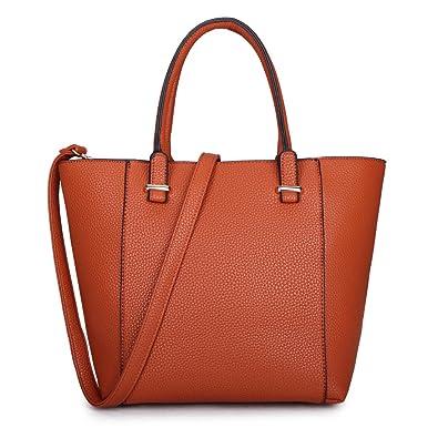 7fe245c4130b86 Long&Son Damen City Shopper Handtasche PU Leder Tragetasche Schultertasche  Schlichten Design (Braun)