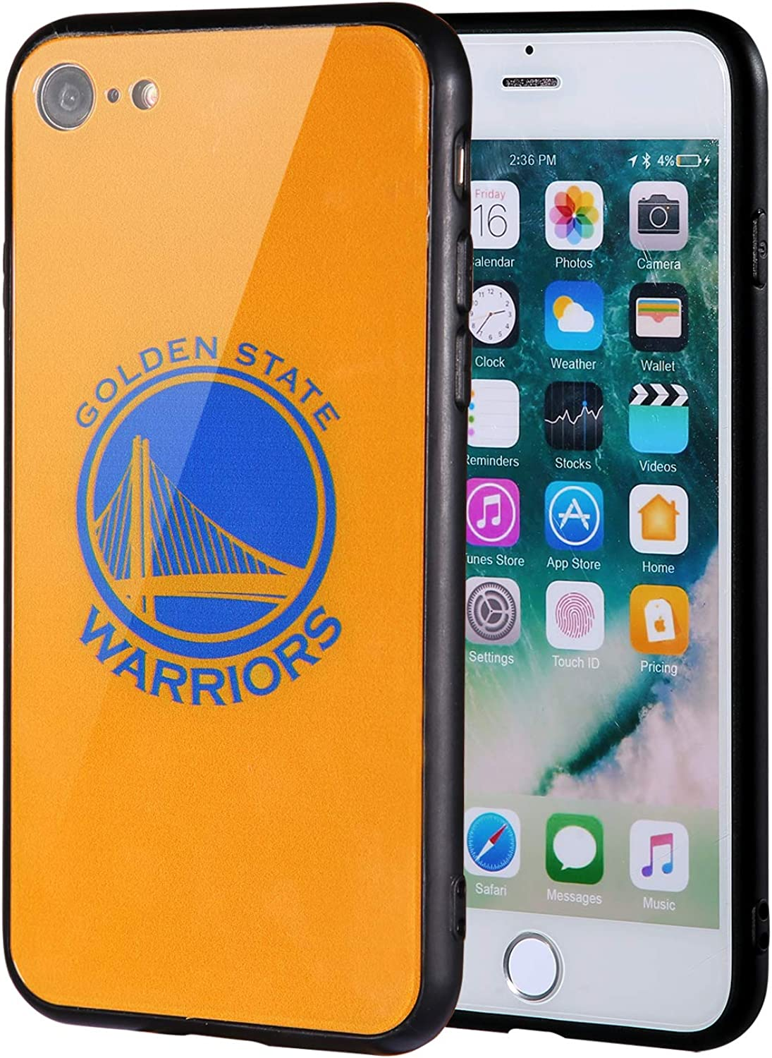 The Mass iPhone 8 case, iPhone 7 case, NBA Team Logo on Tempered Glass Back Cover and Soft TPU Frame for Apple iPhone 8/7