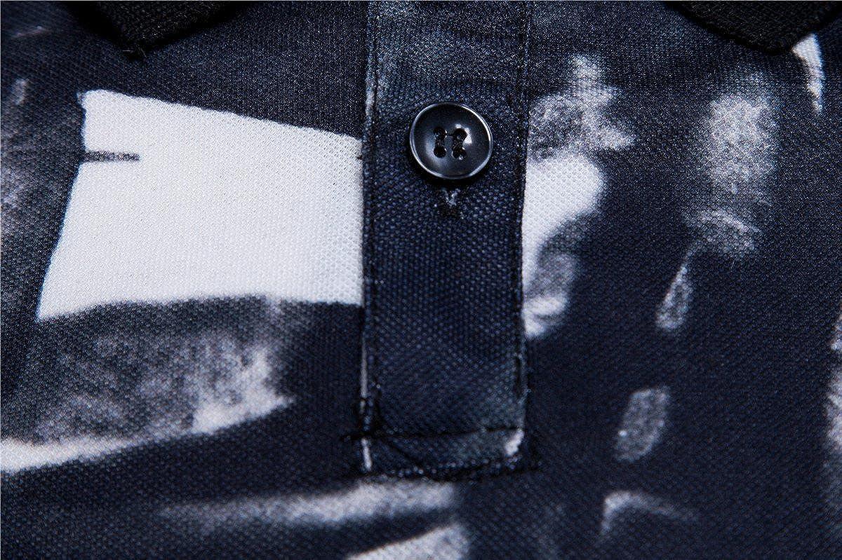 Lucoo Mens Polo Shirt,Fashion Business Mens Slim Fit Shirt Short-Sleeve Top Striped T-Shirt Blouse