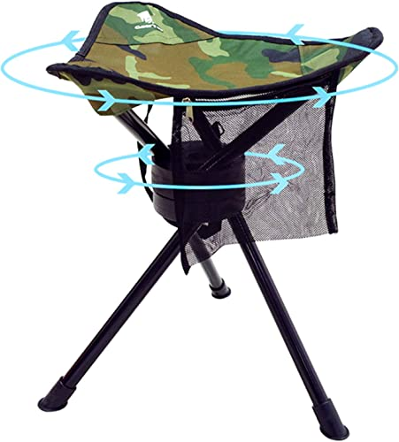 GEERTOP Portable Camping Swivel Folding Stool Seat Foldable Camp Tripod Chair Outdoor Survival Gear for Hiking Fishing Hunting Travel