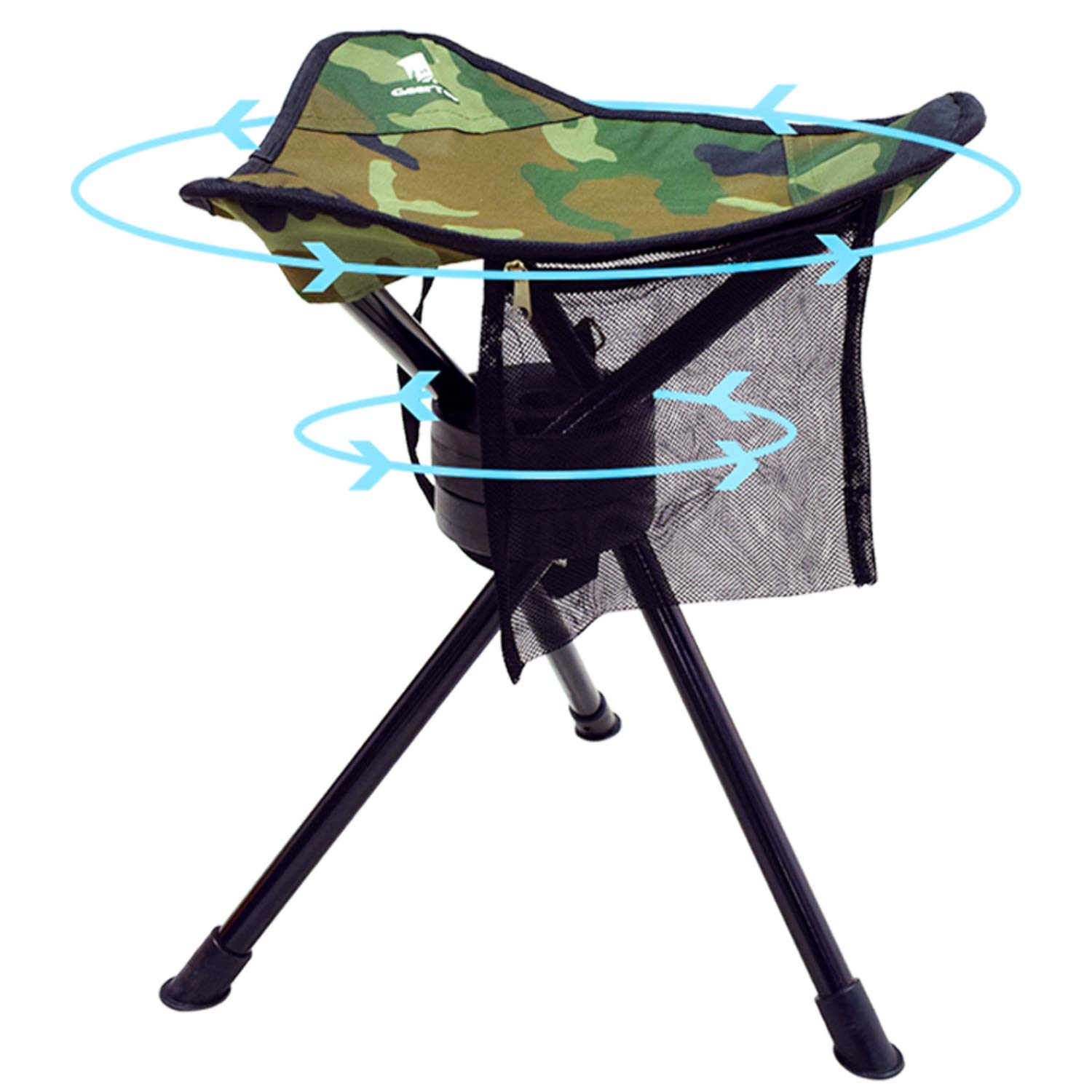 GEERTOP Portable Outdoor Folding Swivel Tripod Stool Fold Up Slacker Chair Lightweight Full 360 Degree Rotation Heavy Duty for Camping Hunting Fishing Hiking Backpacking Travel 200 lbs Capacity by GEERTOP