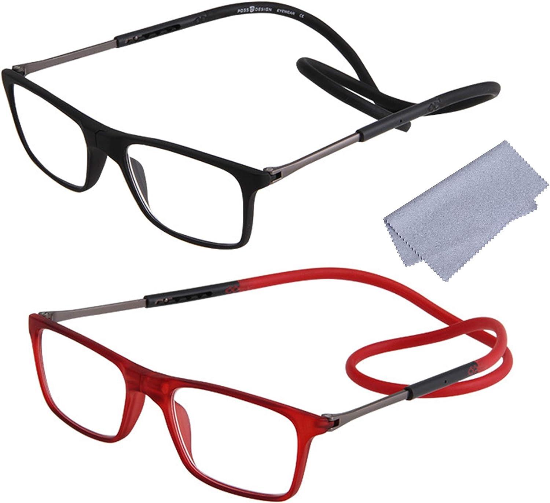 2-Pack Gafas de Lectura Magnéticas Plegables para Hombre y Mujer +1.50(50-54 años) Presbicia Vista Montura Regulable Colgar del Cuello y Cierre con Imán, Negro + Rojo