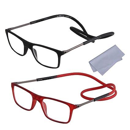 2-Pack Gafas de Lectura Magnéticas Plegables para Hombre y Mujer +2.50(60-64 años) Presbicia Vista Montura Regulable Colgar del Cuello y Cierre con ...