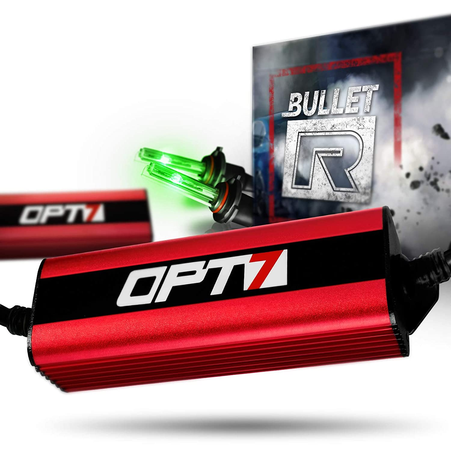 2 Yr Warranty 3X Brighter 4X Longer Life 5000K Bright White Light OPT7 Bullet-R H4 9003 Bi-Xenon HID Kit All Bulb Sizes and Colors