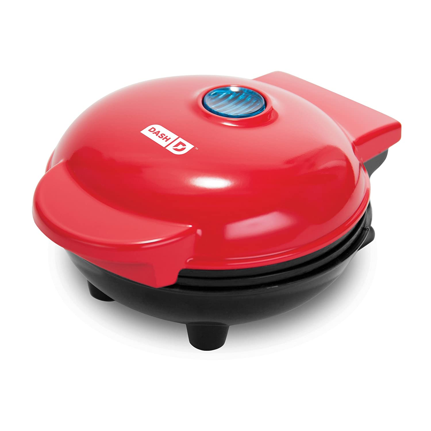 Dash DMS001RD Mini Maker Electric Round Griddle for Individual Pancakes, Cookies, Eggs & other on the go Breakfast, Lunch & Snacks with Indicator Light + Included Recipe- Red