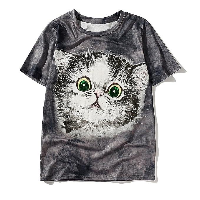 Amazon Com Angelteers Women S Cute Cat T Shirt Tie Dye Kitty Face