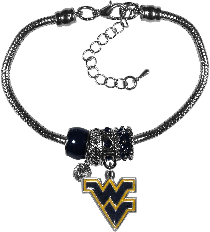 NCAA Siskiyou Sports Womens West Virginia Mountaineers Euro Bead Bracelet One Size Team Color