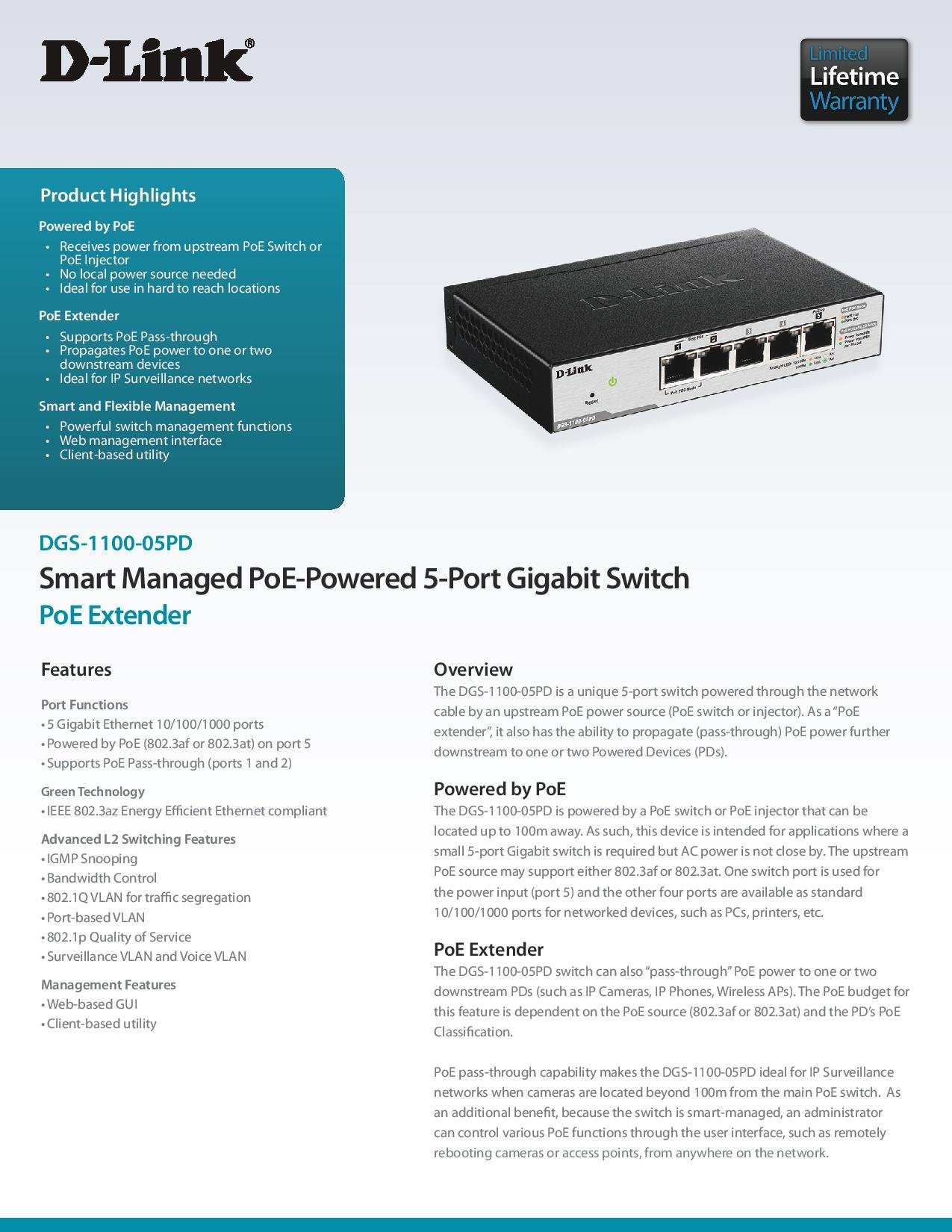 D-Link DGS-1100-05PD Smart Managed PoE-Powered 5-Port Gigabit Switch and PoE Extender by D-Link (Image #5)
