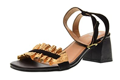 6f0845c424926c Gioseppo Shoes Woman Low Heel Sandals 45301 Black Gold Size 37 Black Gold