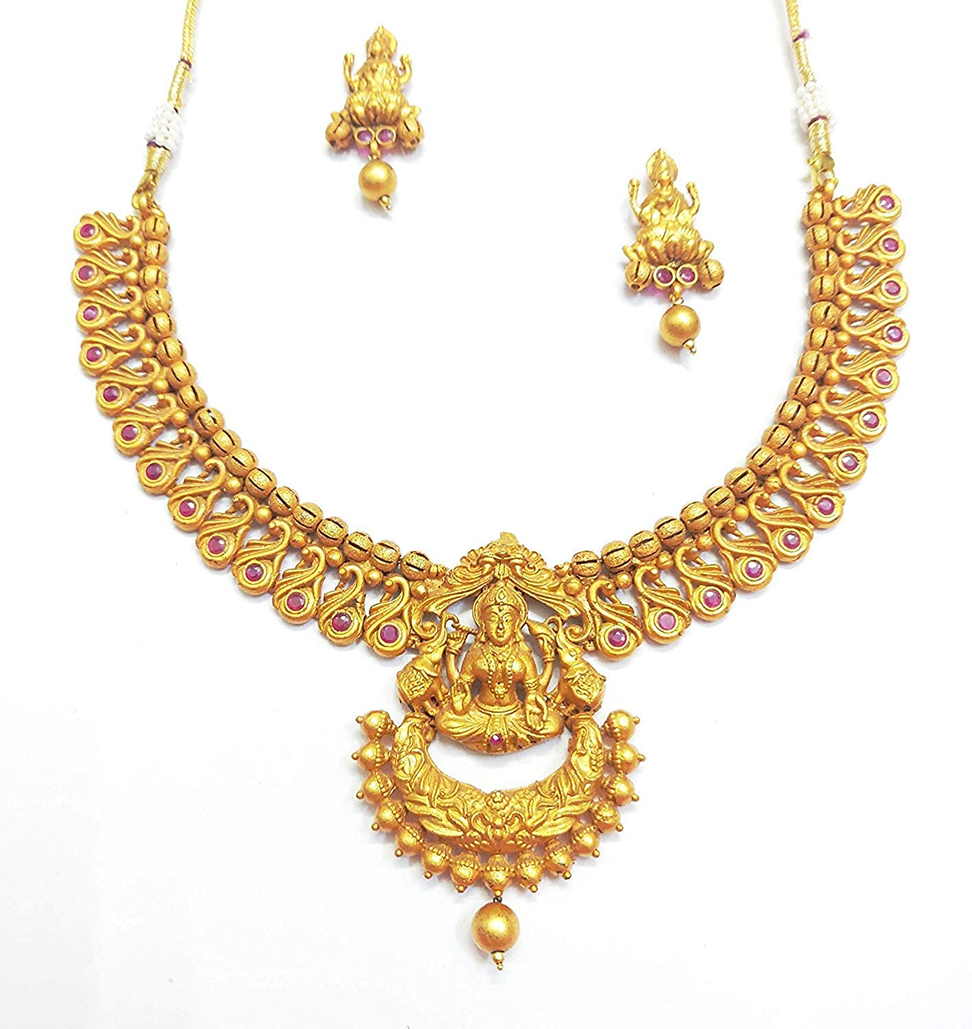 Buy Traditional Gold Plated Godess Lakshmi Pendant Choker Necklace Set at  Amazon.in