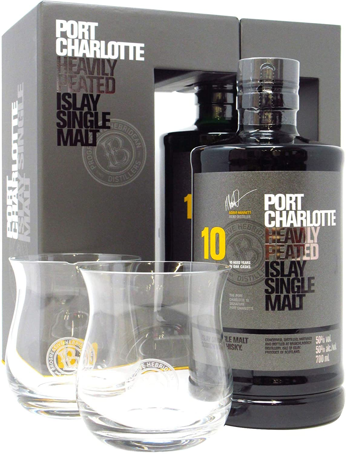 Port Charlotte - Heavily Peated 2 x Glasses Gift Pack - 10 year old Whisky