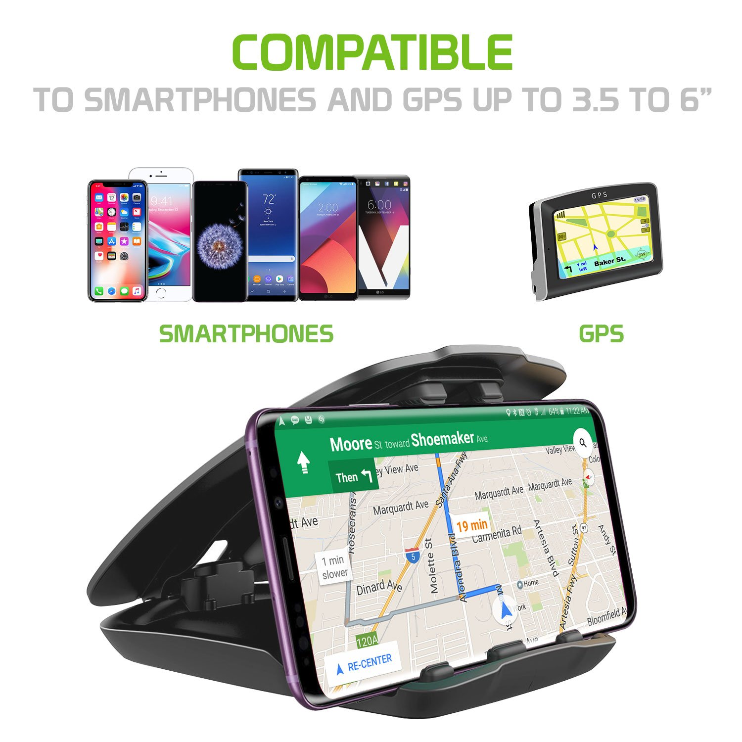 One Hand Insert Dashboard Phone Holder by Cellet 8//8 Plus//7//7Plus//6//6s//6s Plus and More Non-Slip Clamp Dashboard Mount for Apple iPhone X