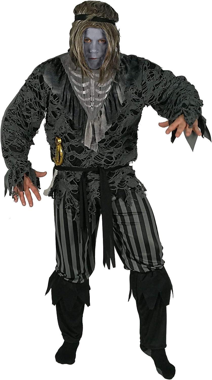 Foxxeo Esqueleto Pirata Fantasma Disfraces de Halloween para Hombres Carnaval, Talla: M