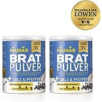 PAUDAR Bratpulver Salz & Pfeffer | 100% pflanzliches Bratfett zum Streuen, mit Salz und Pfeffer, weniger lästige Fettspritzer | fettarme Zubereitung von Fisch, Fleisch und Gemüse [2x 175 g]