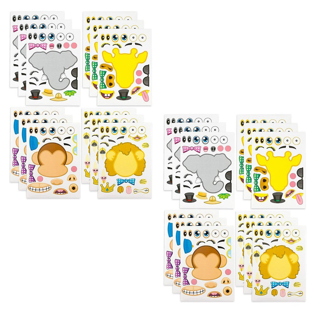 - Kidsco KCO Brands Arts Daycare Gifts School Birthdays Make-a-Zoo Animal Sticker Sheets -24 Pack- for Kids Parties Etc Party Favors Crafts