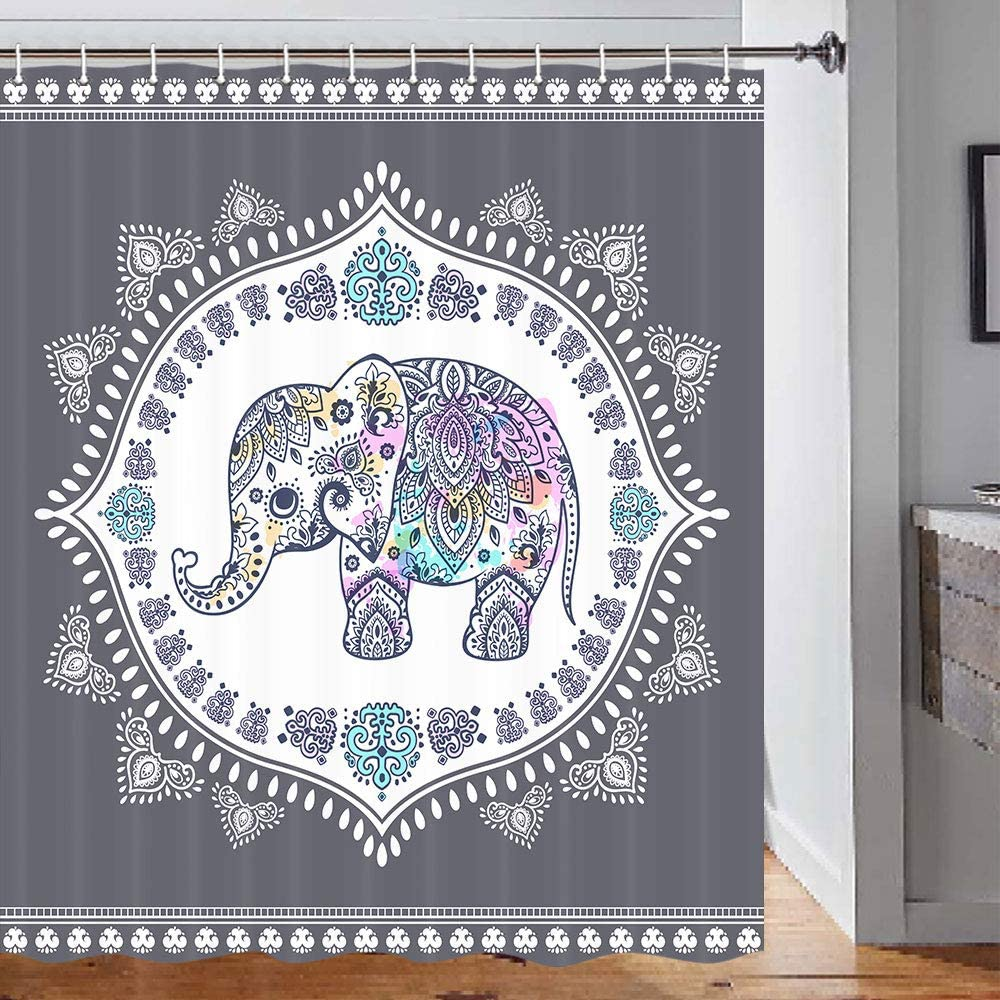 Elephant Shower Curtain, Ethnic Style Bohemian Pattern Creative Animal Elephant Gray Shower Curtain, Boho Shower Curtain Set, Durable Waterpoof Fabric