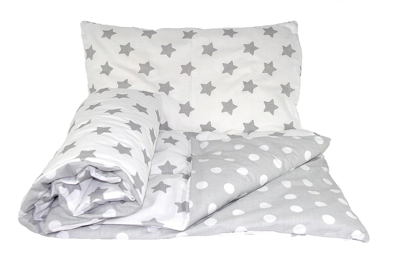Babys Comfort REVERSIBLE 2pcs baby bedding set DUVET//QUILT COVER PILLOWCASE 120x90cm for cots and cotbeds, 3 - Beige chevron//cream