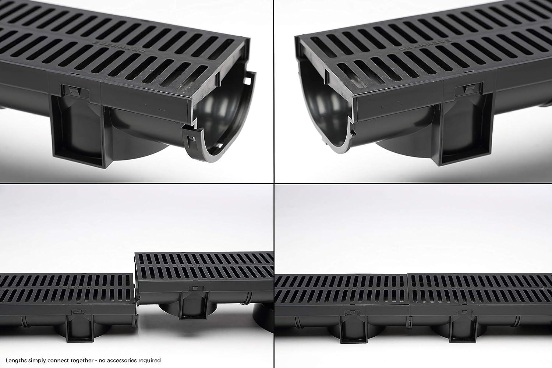 Zanja drenaje compacto negro polímero con talón de polímero de negro con rejilla: Amazon.es: Bricolaje y herramientas