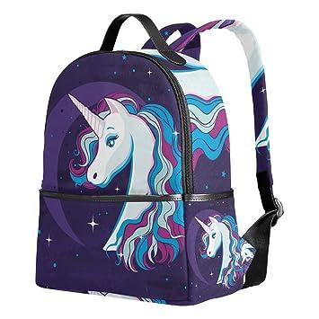 588f4a096e8 School Backpack for Girls Boys Unicorn Moon Starry Sky Bookbag for 2th 3th  4th Grade Kids