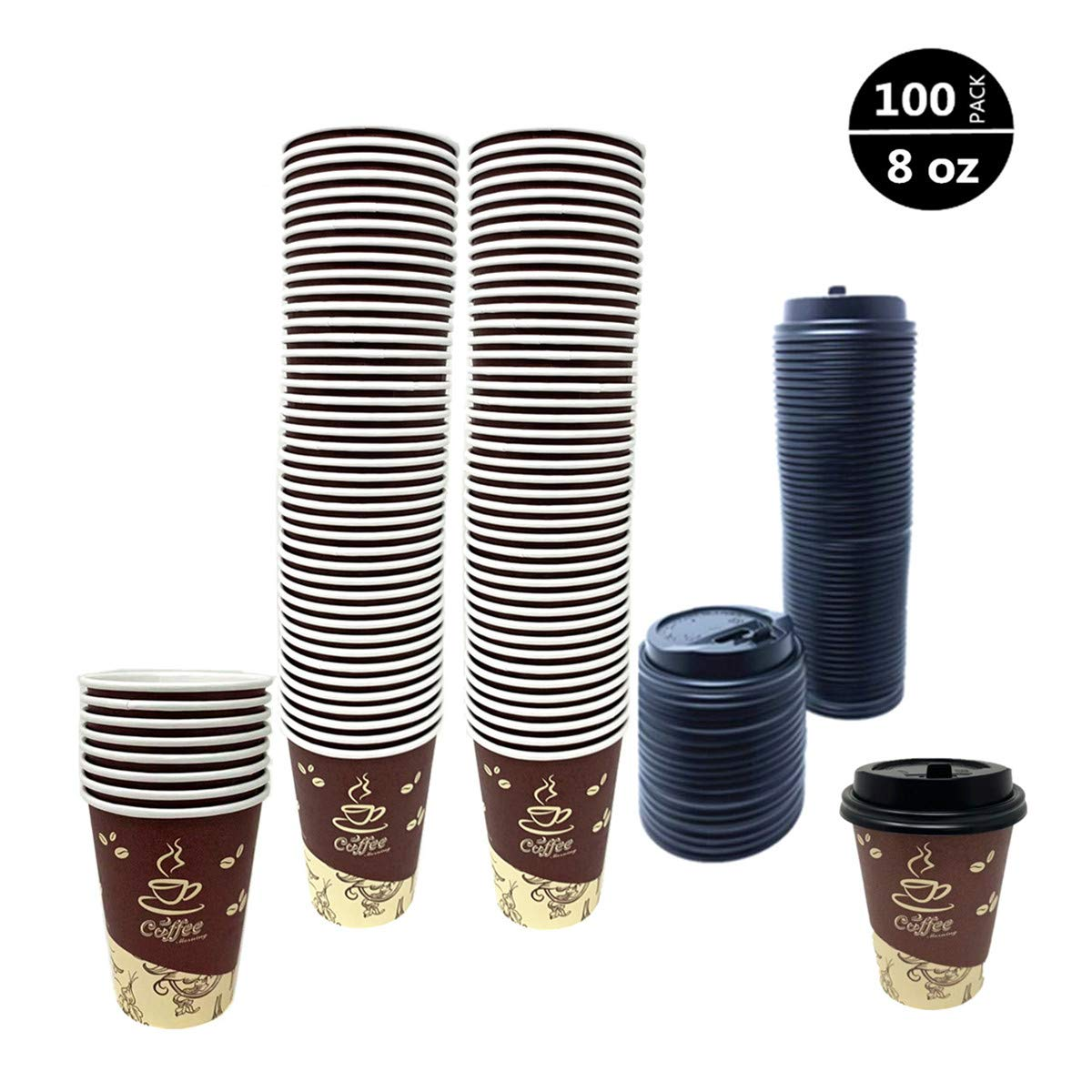 100 Pack Quality Disposable Paper Hot Coffee Cups with Lids, Perfect For Hot Drinks Tea & Coffee, Coffee Shops And Bars,Coffee Bean & Flower design (8 oz) by Tsyware