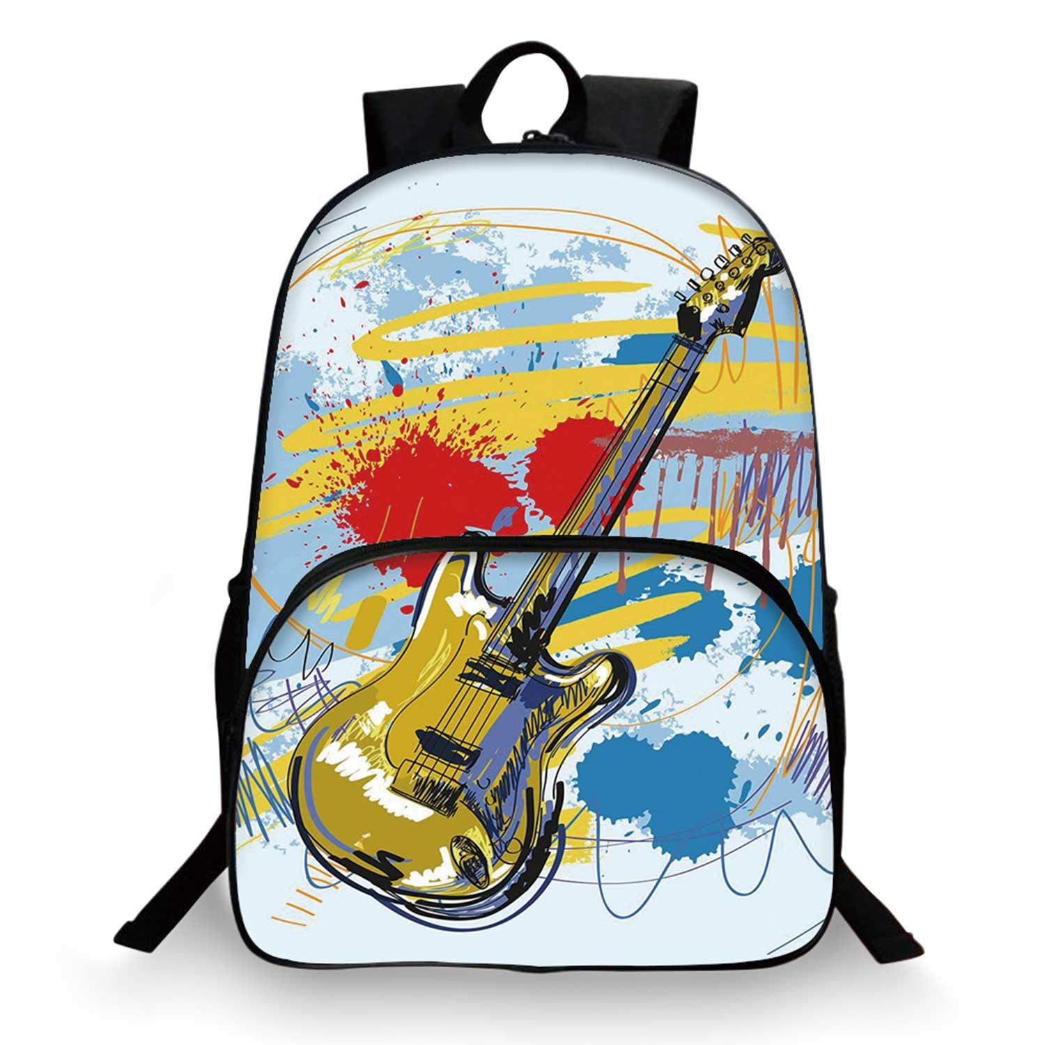 Art Various Schoolbag,Abstract Musical Instrument Expressionist Artwork Stained and Tainted Background Print for student,11''Lx6''Wx15''H by C COABALLA